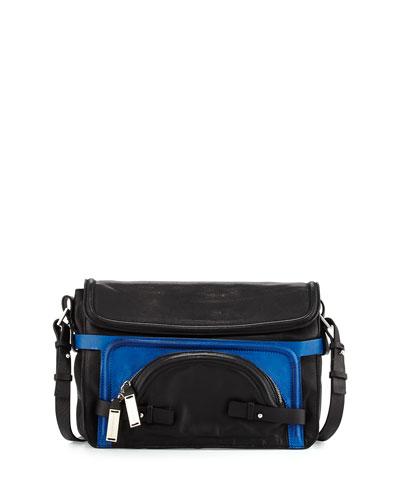 Large Pochette Leather Shoulder Bag, Black
