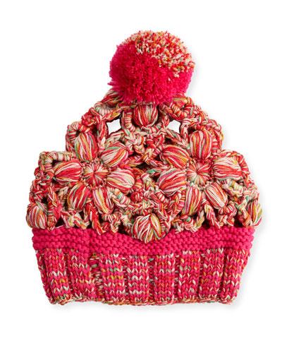Floral Wool Beanie, Pink
