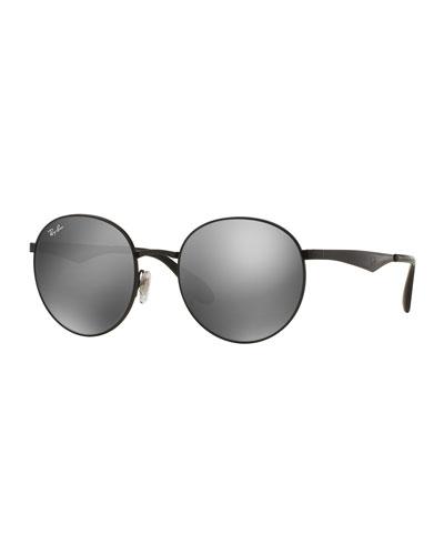 Round Mirrored Sunglasses, Black/Gray
