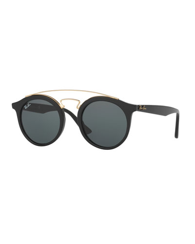 Round Monochromatic Brow-Bar Sunglasses, Black