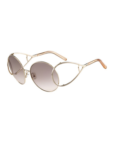 Jackson Oversized Round Metal Sunglasses, Peach/Gold