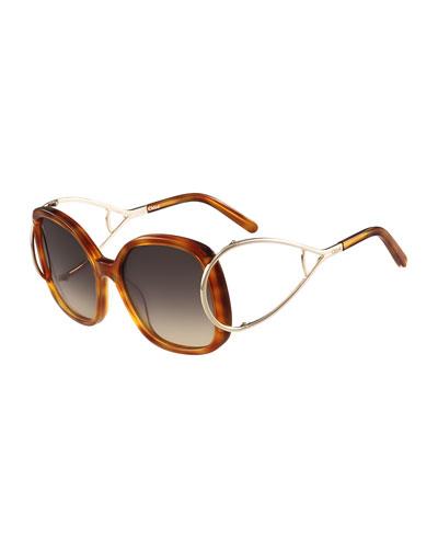Jackson Square Oversized Sunglasses, Havana