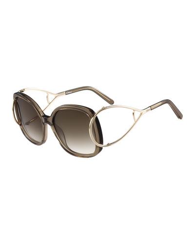 Jackson Square Oversized Sunglasses, Gray
