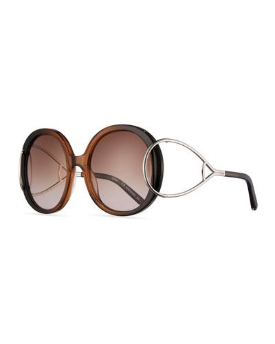 Jackson Round Oversized Sunglasses, Rose