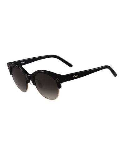 Boxwood Gradient Square Sunglasses, Black