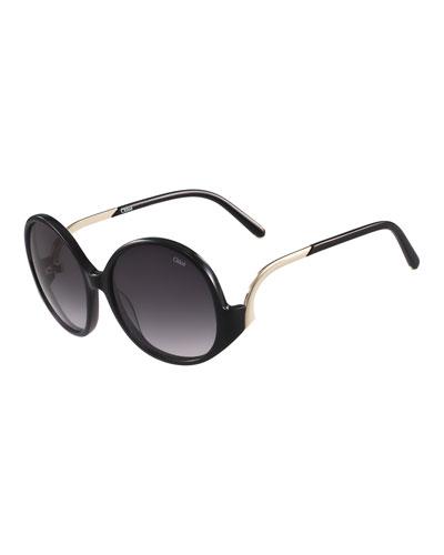 Emilia Round Oversized Sunglasses, Black