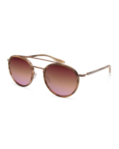 Justice Mirrored Round Sunglasses, Rose Gold/Horn