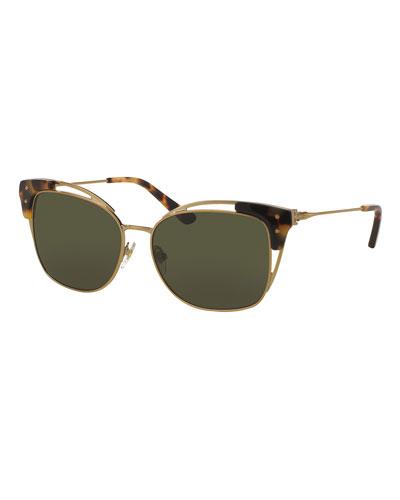 Open-Inset Monochromatic Cat-Eye Sunglasses, Gold/Tortoise