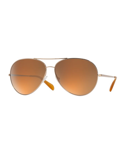 Sayer Oversized Mirrored Aviator Sunglasses, Gold