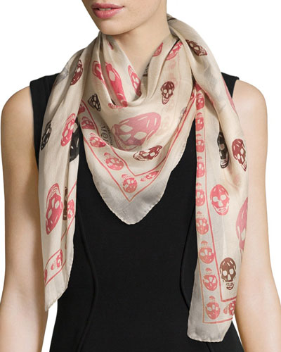 Silk Mixed Skull Scarf, Ivory/Pink/Black