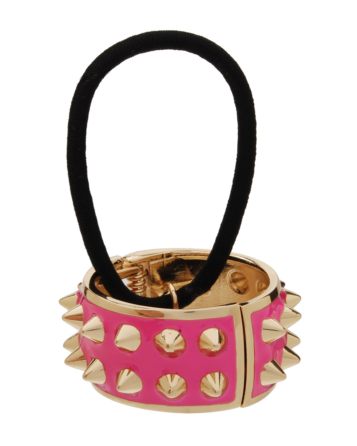 Spiked Enamel Ponytail Holder with Cuff, Watermelon