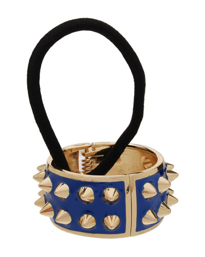 L. Erickson Spiked Enamel Ponytail Holder With Cuff, Blueberry