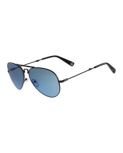 Foldable Aviator Sunglasses, Matte Black