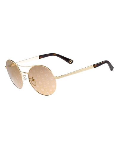 Round Mirrored Logo-Print Sunglasses, Gold/Bronze