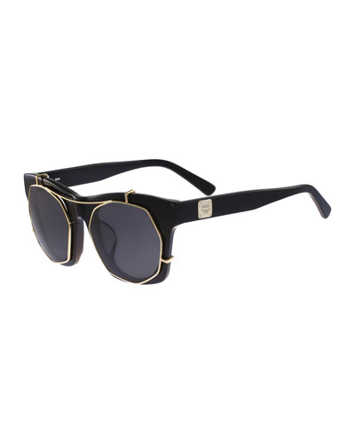 Square Monochromatic Clip Sunglasses, Black/Gold