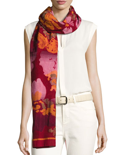 Wool-Blend Floral Jacquard Scarf