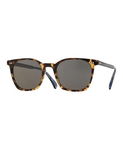 L.A. Coen Square Monochromatic Sunglasses, Hickory Tortoise