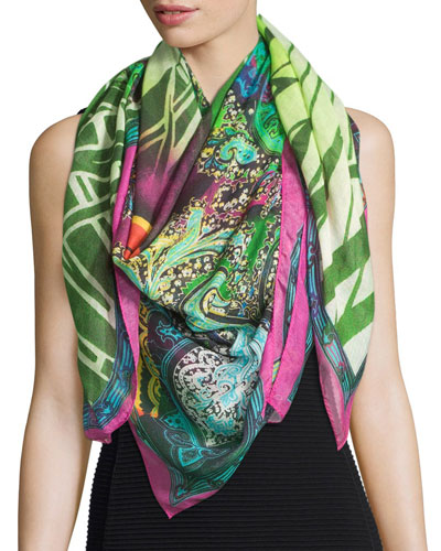 Multipattern Voile Square Scarf