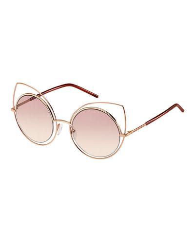 Metal-Rim Gradient Cat-Eye Sunglasses, Rose Gold