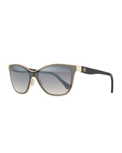 Translucent Cat-Eye Sunglasses, Smoke