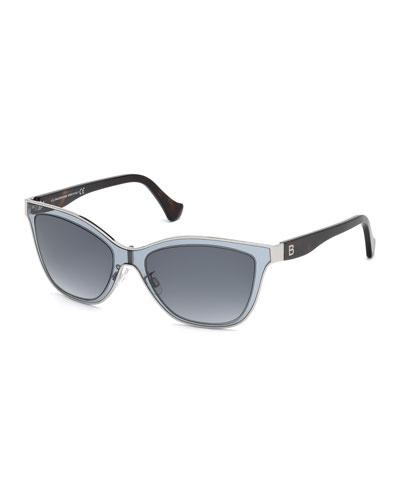 Translucent Cat-Eye Sunglasses, Gray Azure