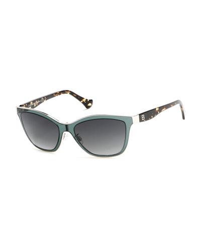 Gradient Cat-Eye Sunglasses, Green