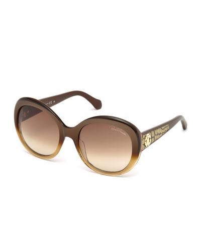 Tejat Gradient Round Sunglasses, Brown