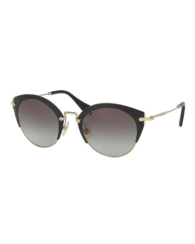Trimmed Gradient Cat-Eye Sunglasses, Black