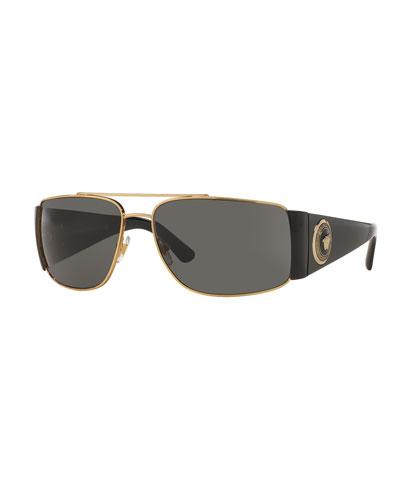 Squared Monochromatic Aviator Wrap Sunglasses, Gold/Black