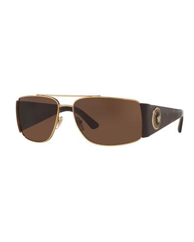 Squared Monochromatic Aviator Wrap Sunglasses, Gold/Brown