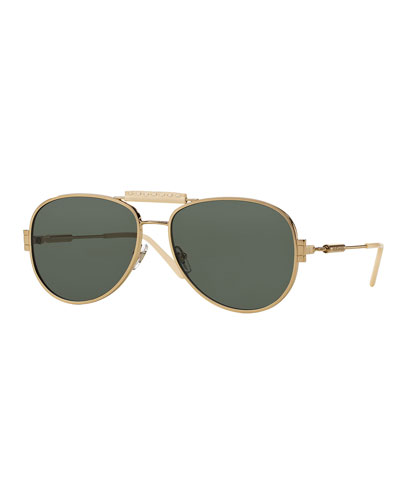 Leather-Trim Monochromatic Aviator Sunglasses, Gold/Green