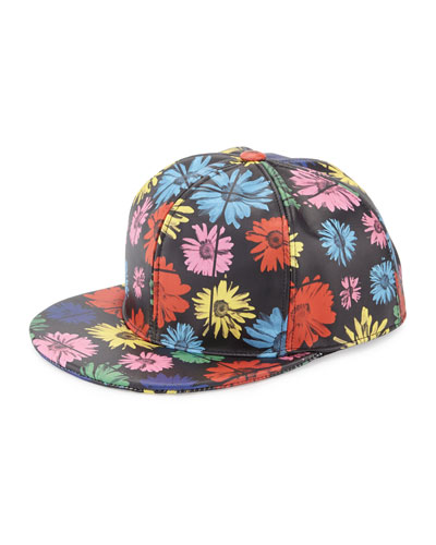 Floral Leather Baseball Cap, Black/Multicolor