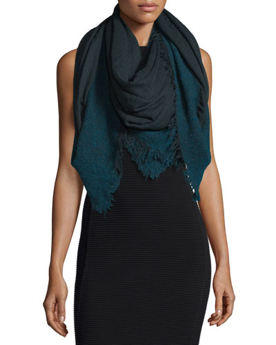 Isadora Wool-Blend Ombre Scarf, Blue/Gray