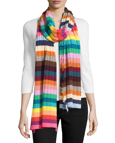 Hippy Ribbed Cashmere Scarf, Multicolor