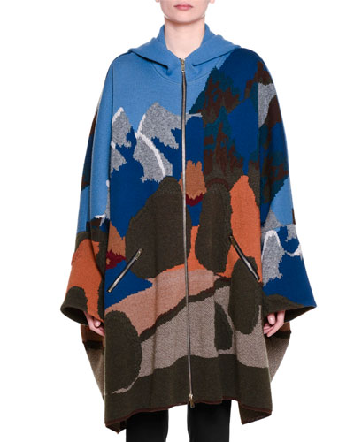 Zip-Front Intarsia Hooded Cape, Multi Colors