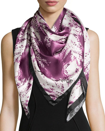 Ferns Square Silk Scarf, Ruby