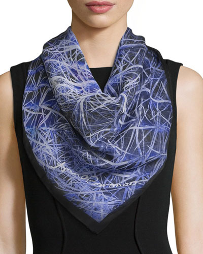 Spiky Cactus Square Silk Scarf, Blue