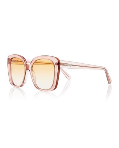Monaco Transparent Square Sunglasses, Rouge