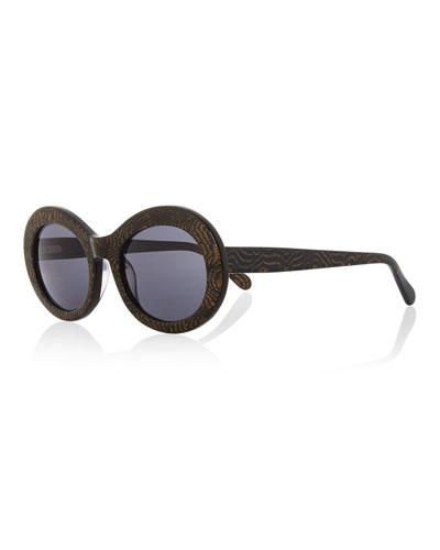 San Francisco Printed Oval Sunglasses, Tiger