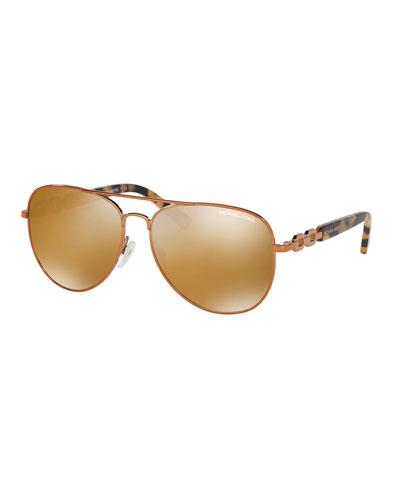 Mirrored Chain-Link Aviator Sunglasses, Copper