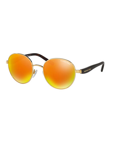 Round Iridescent Sunglasses, Gold/Red