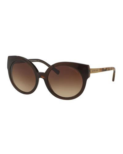 Round Cat-Eye Sunglasses, Brown
