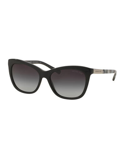 Two-Tone Square Cat-Eye Sunglasses, Black