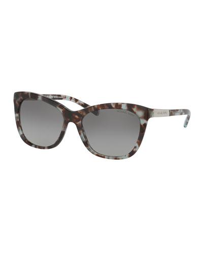 Gradient Square Cat-Eye Sunglasses, Blue Tortoise