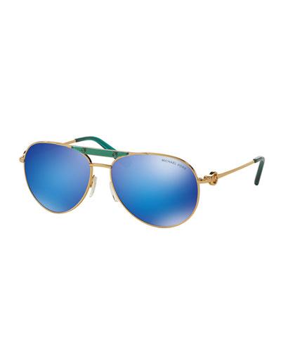 Mirrored Logo Aviator Sunglasses, Gold/Turquoise