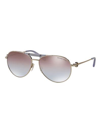Mirrored Iridescent Logo Aviator Sunglasses, Silver/Lavender