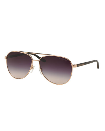 Mirrored Iridescent Contrast-Trim Aviator Sunglasses, Rose Gold