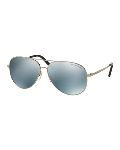 Mirrored Aviator Sunglasses, Silvertone