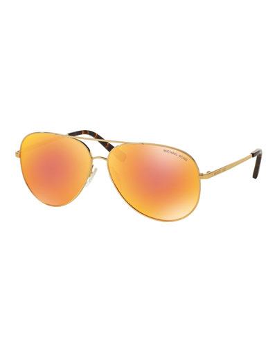 Mirrored Iridescent Aviator Sunglasses, Gold/Orange