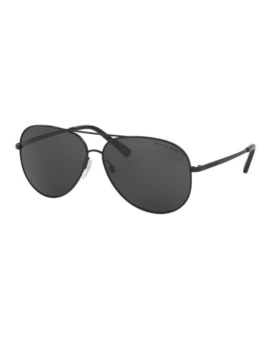 Monochromatic Aviator Sunglasses, Matte Black